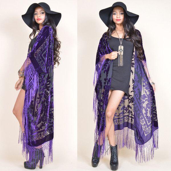 Purple Sheer Silk Burnout Velvet Fringe Hippie Boho Gypsy Cape... (8,750 INR) ❤ liked on Polyvore featuring outerwear, jackets, grey, women's clothing, velvet fringe kimono, fringe kimono jacket, kimono jacket, burnout velvet kimono and fringe kimono