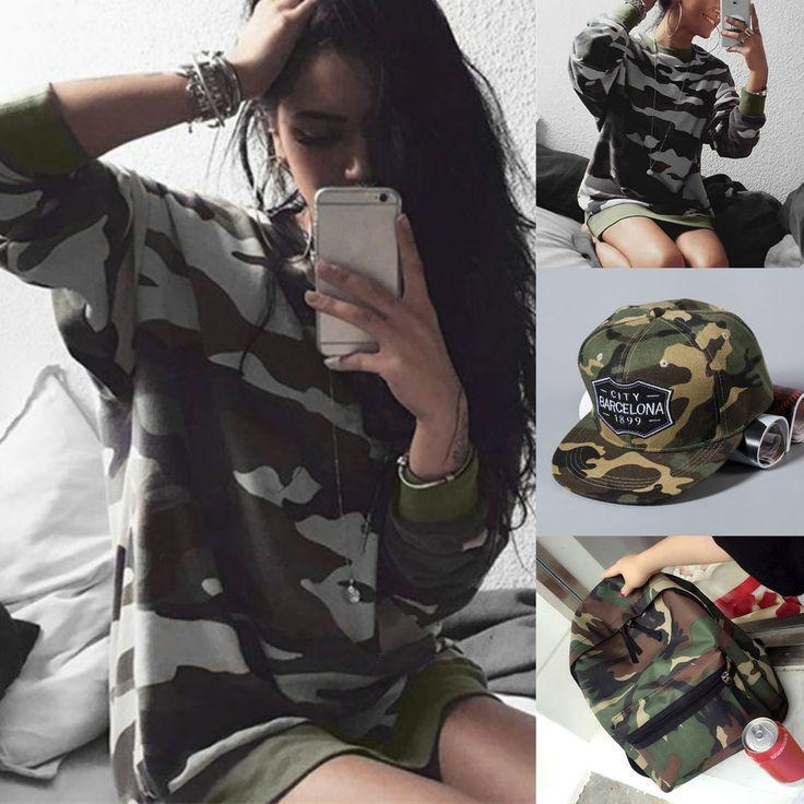 Womens Army Camo Camouflage Hoodie Jacket Long Sleeve Casual Sweatshirt #Unbranded #Hoodie