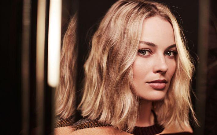 Herunterladen hintergrundbild margot robbie, portrait, blond, australische schauspielerin, make-up für eine blonde, schöne frau