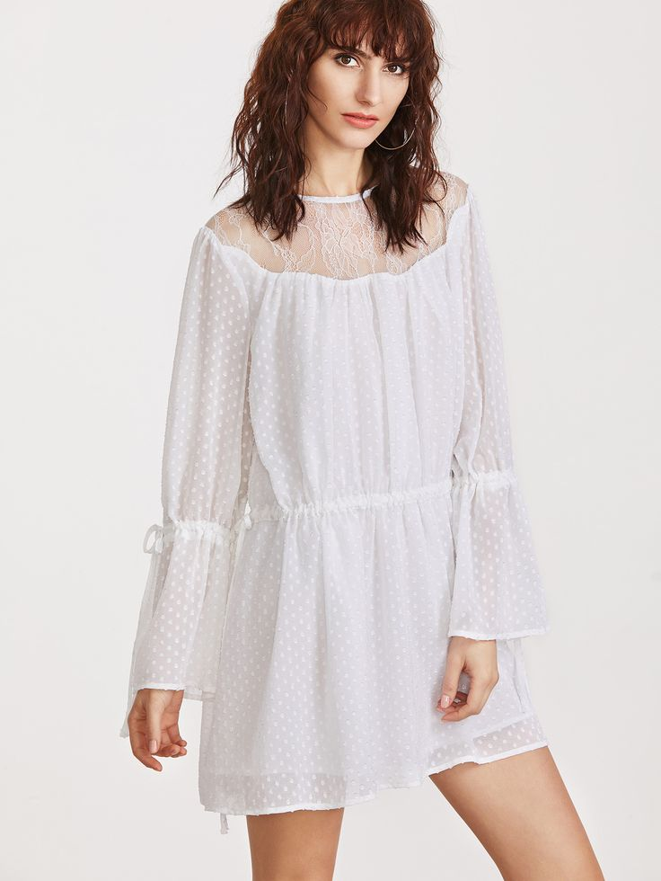 Shop White Sheer Lace Shoulder Drawstring Detail Polka Dot Jacquard Dress online. SheIn offers White Sheer Lace Shoulder Drawstring Detail Polka Dot Jacquard Dress & more to fit your fashionable needs.
