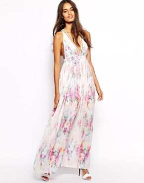 White watercolor maxi dress.