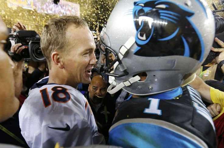 Denver Broncos' quarterback Peyton Manning (18) and Carolina Panthers' quarterback Cam Newton greet each other on the field after the Broncos defeated the Panthers in the NFL's Super Bowl 50 football game in Santa Clara, California February 7, 2016. REUTERS/Mike Blake (TPX IMAGES OF THE DAY)