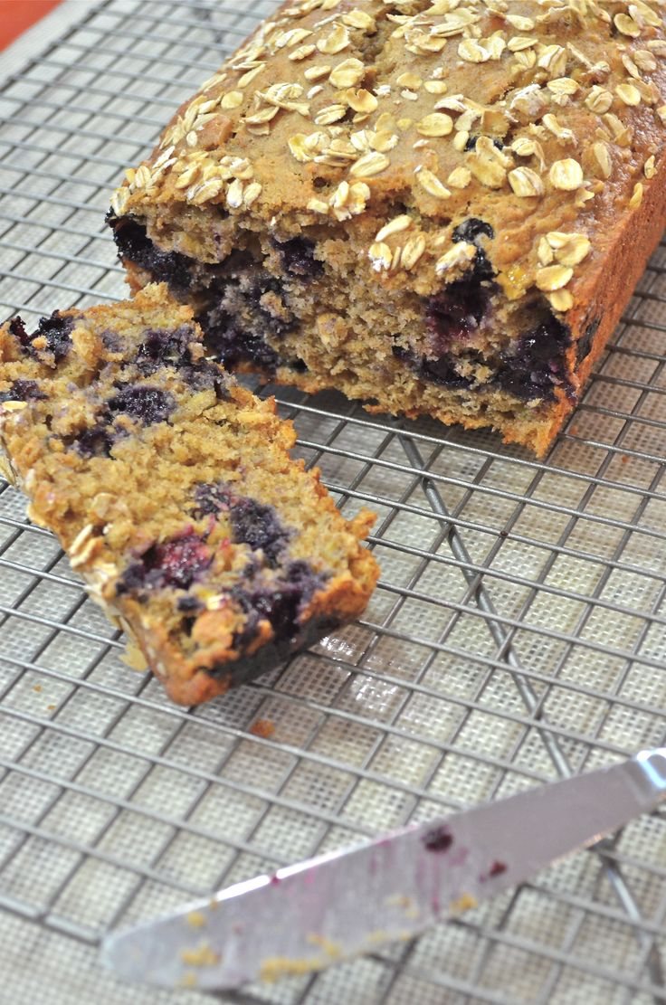 This Banana Blueberry Oatmeal bread is healthier without tasting like it. It's moist, wholesome, and bursting with banana-blueberry flavor. It's like your morning bowl of oatmeal in bread form!