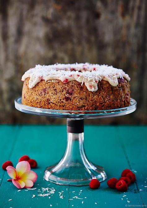 PALEO FIVE-SPICE RASPBERRY & BANANA CAKE WITH COCONUT LEMON ICING By Tanya-Zouev