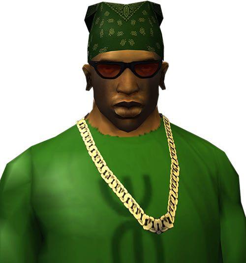 CJ (Grand Theft Auto San Andreas) with bandanna, red shades and Cuban chain. From http://www.writeups.org/carl-cj-johnson-gta-san-andreas/