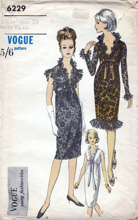 60s Vogue evening dress, ruffle dress young fashionables sewing pattern 6229, Bust 34 inches.   One Piece Dress: High waisted dress with ruffles has deep
