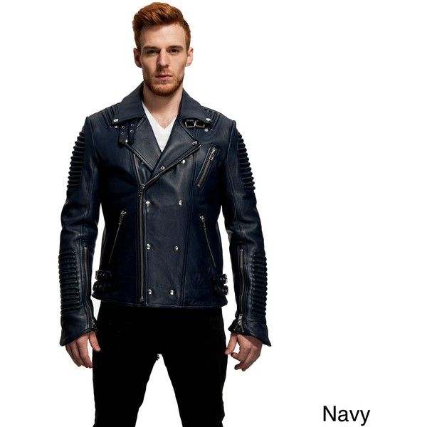 Men's The Empire Leather Moto Jacket ($220) ❤ liked on Polyvore featuring men's fashion, men's clothing, men's outerwear, men's jackets, blue, mens biker jacket, mens blue leather jacket, mens leather biker jacket, mens leather motorcycle jacket and mens jackets