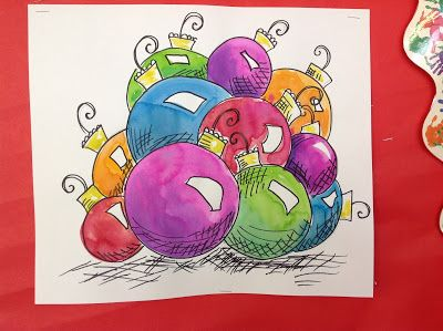 Color It Like you MEAN it!: Shiny and Bright Ornaments Value, Shading, Highlight 5th grade art project idea lesson