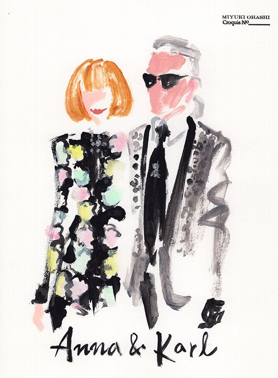 Anna Wintour & Karl Lagerfeld at British Fashion Awards 2015.miyuki ohashi drawing etcetra