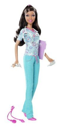 Barbie I Can Be... Nurse African-American Doll - New 2012 Version by Mattel. $27.50. Collect all your favorite Barbie I Can Be dolls. Code inside each package unlocks career-themed content online. Includes Barbie doll, badge, charting book, and medical accessories. Girls can play out the role of nurse. Other accessories include stethoscope, otoscope, and more. From the Manufacturer Barbie I Can Be… Nurse African-American Doll: Now girls can explore t...