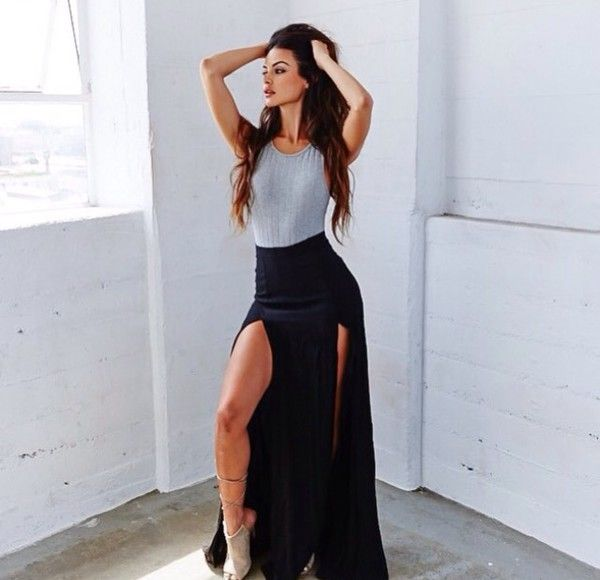 Goddess Curves Double Slit Skirt WHITE CORAL BLACK HGREY ROYAL CITRON - GoJane.com