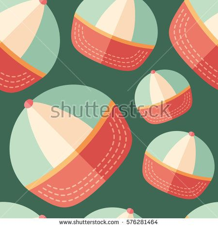 Beach cap flat icon seamless pattern. #summerpatterns #vectorpattern #patterndesign #seamlesspattern