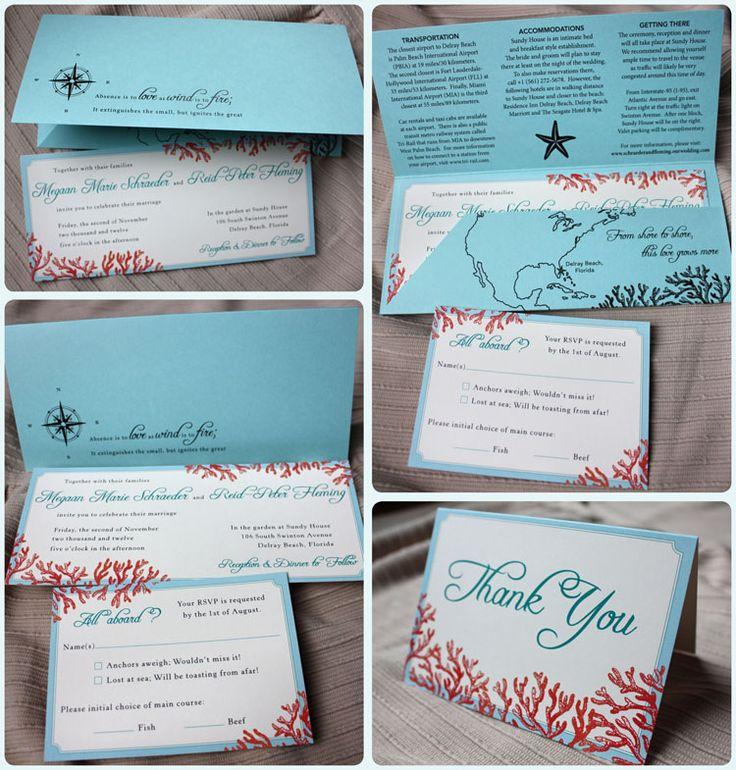 wedding stationery folders%0A Tiffany Blue  Teal  u     Red Beach Coral Horizontal Wedding Invitations with  Pocket Folders