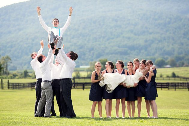 """funny wedding party pictures @Erica Hall lol - have Chris be the """"cheerleader"""""""