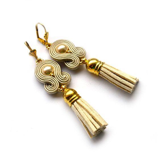 Tassel earrings - tassel jewelry - soutache dangle earrings - Daughter gift Girlfriend anniversary gift - christmas gift - champagne gold