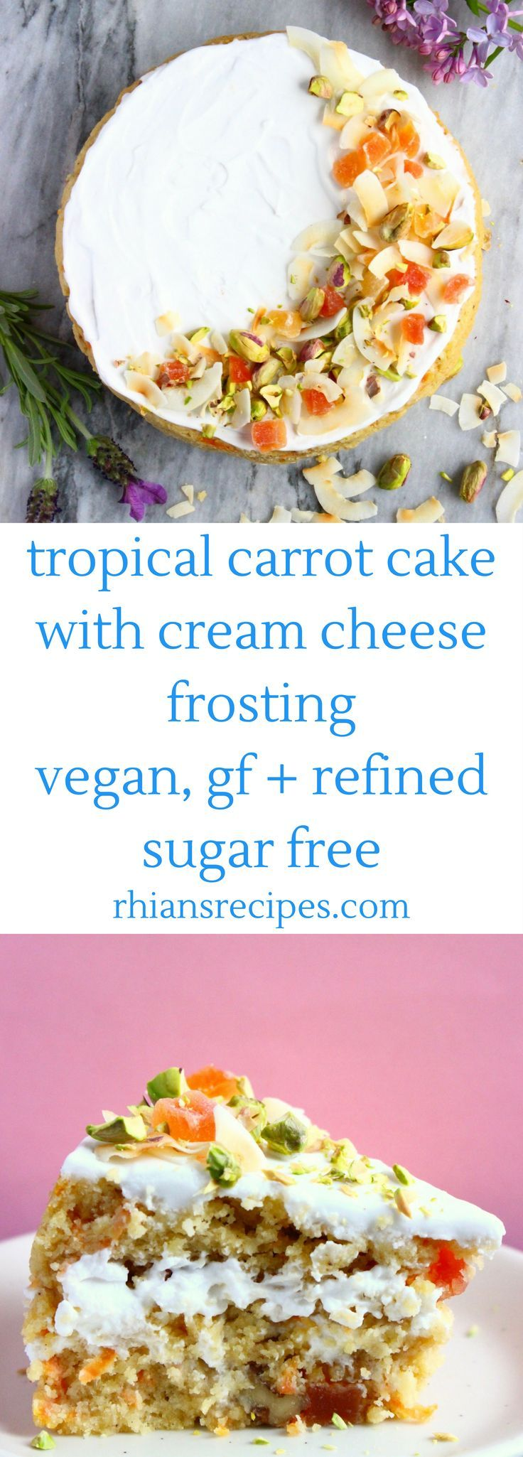 Tropical Carrot Cake with coconut, mango, pistachios and cream cheese frosting! Vegan, gluten-free, refined sugar free, easy to make