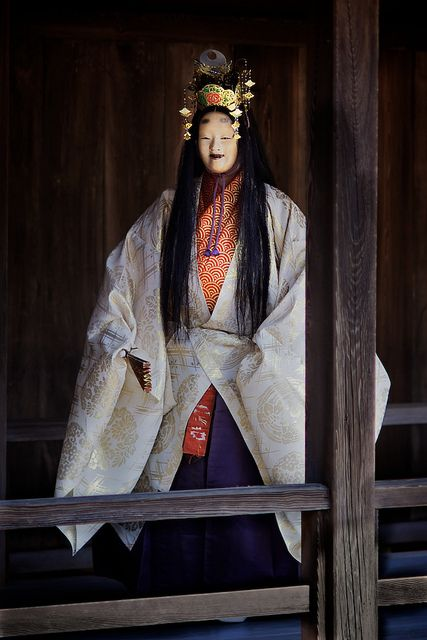 Nô actor coming back from stage at Miyajima temple, Hiroshima Ken, Seto Inland Sea, Japan by Alex_Saurel, via Flickr