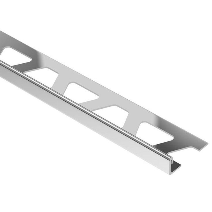 Schluter Schiene Stainless Steel 5 8 In X 8 Ft 2 1 2 In Metal L Angle Tile Edging Trim Edging Ft Langle Stainless Steel Tile Tile Edge Trim Tile Edge