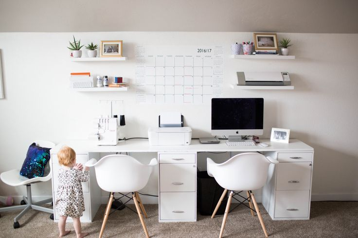 white and pink modern playroom office combo