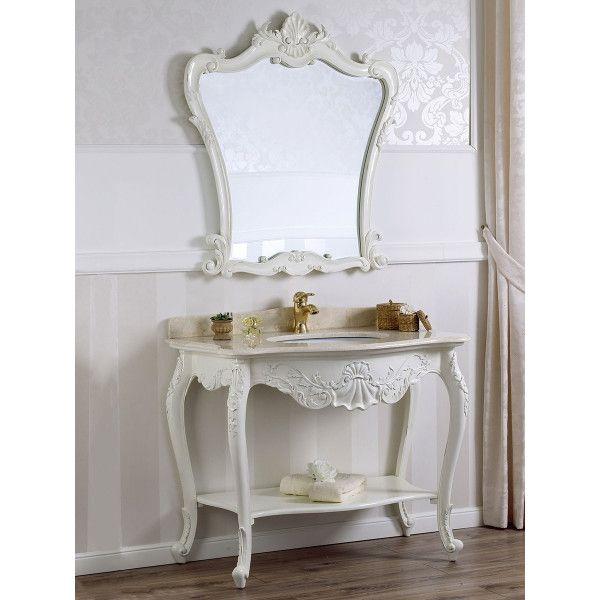 Consolle Lavabo E Specchio Stile Shabby Chic Bianco Anticato Marmo