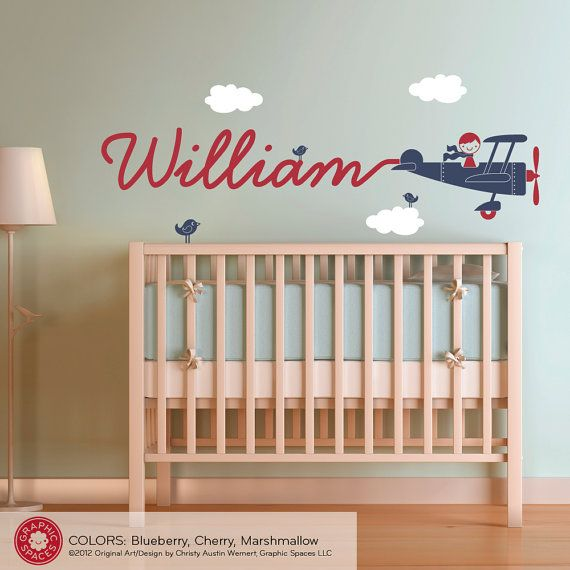 Airplane Nursery Wall Art Decal Boy Skywriter Baby Nursery Kids. Might be awesome with a spaceship instead.