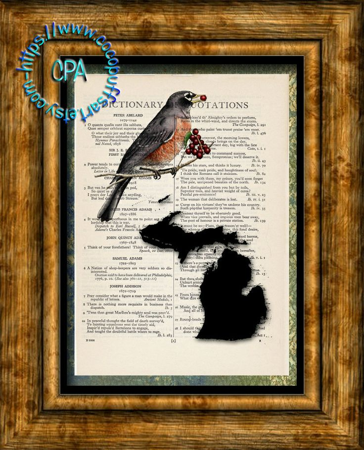 Map Of Us States In 1860%0A MICHIGAN State Map  Bird   u     Flower  Vintage Dictionary Page Art Print  Upcycled Page Print