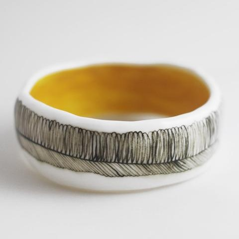 feather pattern bangle with gold interior