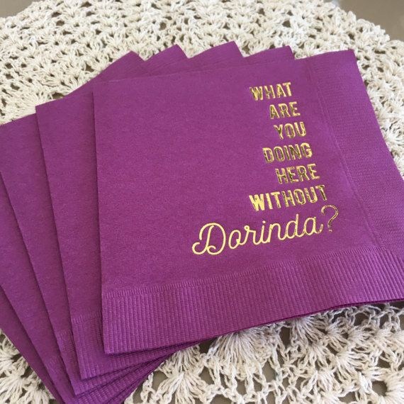 The Real Housewives of New York Inspired, Elegant Purple Cocktail Napkin, with Shiny 18 Kt Gold Imprint Foil Color is good for use in Ladies Night Out, Bridal Shower, Girls Dinner, Birthday, Wedding, Sweet 16, Ladies Luncheon, Real Housewives party, Bachelorette Party, Bridal Shower, Purple and Gold Birthday themed parties and will impress guests like no other. Make this party unforgettable.