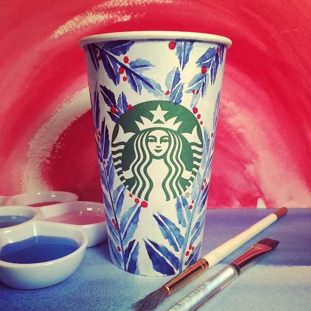 @starbucks watercolor cup I painted.