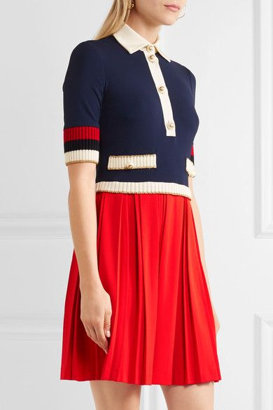 Gucci - Bow-detailed Ribbed Knit-trimmed Pleated Stretch-crepe Mini Dress - Red - x large