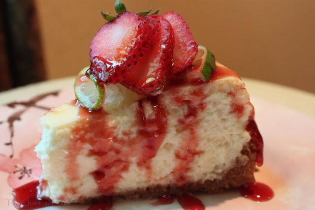 Key Lime Cheesecake with Strawberry Sauce | Key Lime Cheesecake, Lime ...