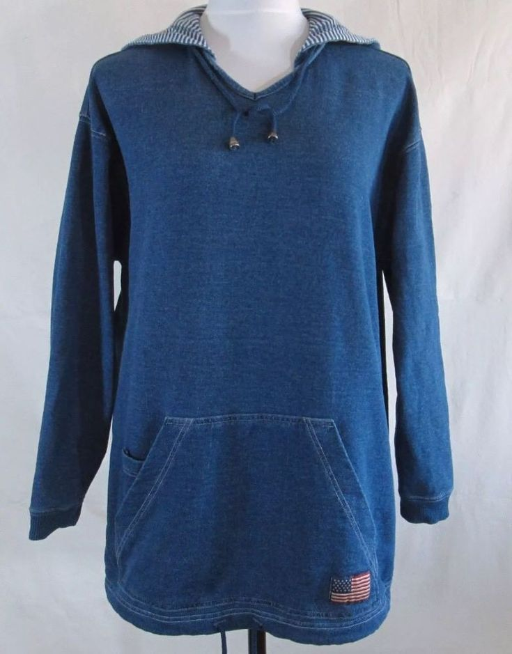 Super cute Liz & Co denim-blue pullover hoodie sweatshirt with nautical blue stripe fabric lining the hood, nice big front pocket with extra smaller size pocket perfect for your phone! Drawstring on hood and hem, ribbed knit cuffs, flag patch on front of pocket. | eBay!