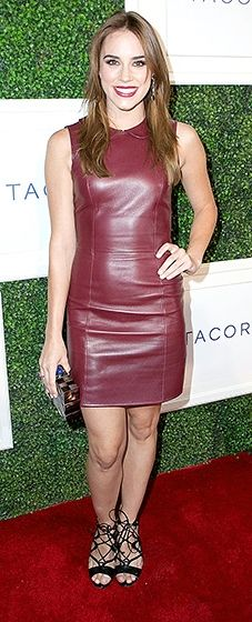 Christa B. Allen feted the jewelry brand's latest launch in a wine-colored leather sheath, an Emm Kuo minaudière, Tacori jewels, and strappy black heels.