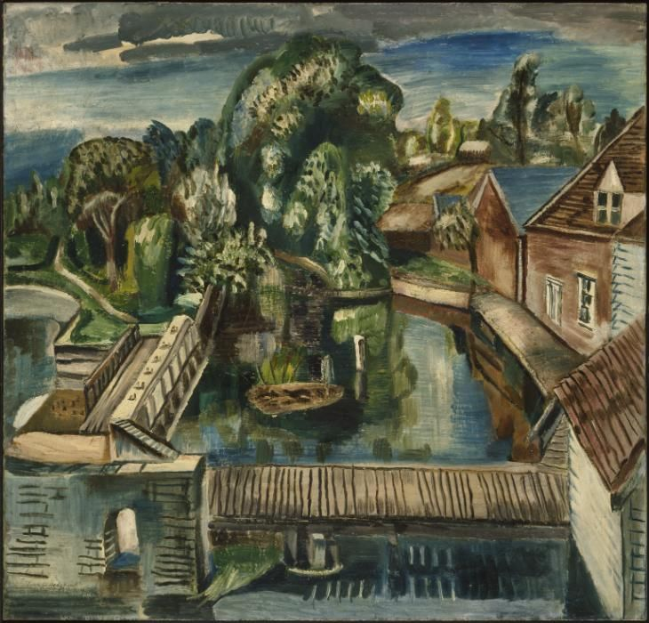 'Flatford Mill' (1930) by New Zealand artist Frances Hodgkins (1869-1947). Oil on canvas, 724 x 762 mm. via the Tate