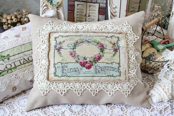 Купить Цветы Весны. Подушки в стиле Прованс. - подушка декоративная, прованс, ручная работа, для уюта
