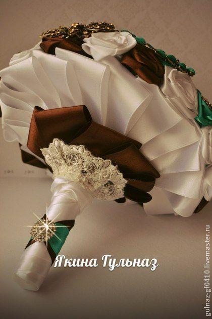 """Свадебные цветы ручной работы. Ярмарка Мастеров - ручная работа Свадебный брошь букет невесты """"Мята и шоколад"""". Handmade."""