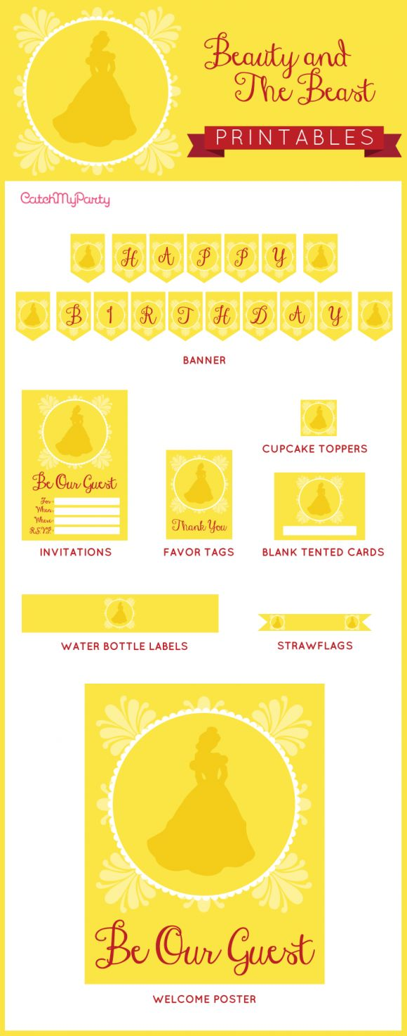 """Free Beauty and the Beast party Printables - including invitations, a """"Happy Birthday"""" banner, tented cards, welcome sign, favor tags, etc. Throw an awesome Beaty and the Beast party for your daughter!   CatchMyParty.com"""