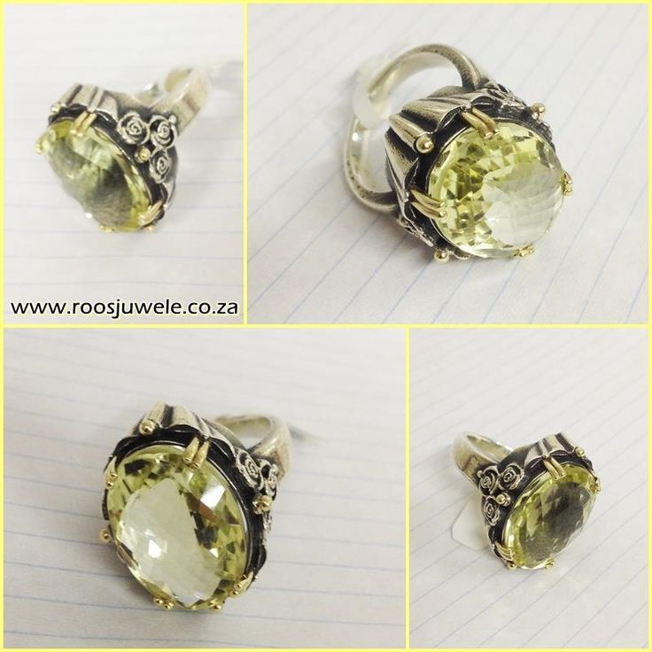How amazing is this bold ring? Silver and gold with a huge natural Citrine stone. Deisgned by Susan Roos