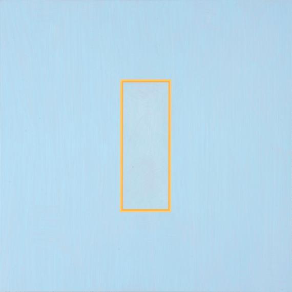 Beaux Arts Gallery - Luke Frost and Simon Allen    Luke Frost    Pastel Orange Volts   2014   Acrylic on Alumininum   21 x 21 inches (53 x 53 cm)