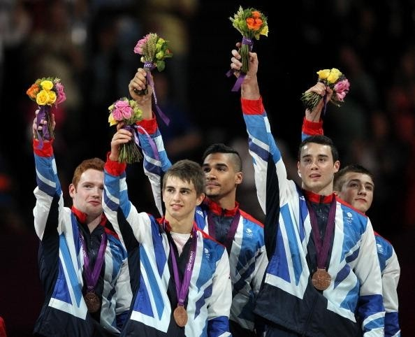 Bronze medalists Daniel Purvis, Max Whitlock, Louis Smith, Kristian Thomas and Sam Oldham of Great Britain in Artistic Gymnastics Mens Team