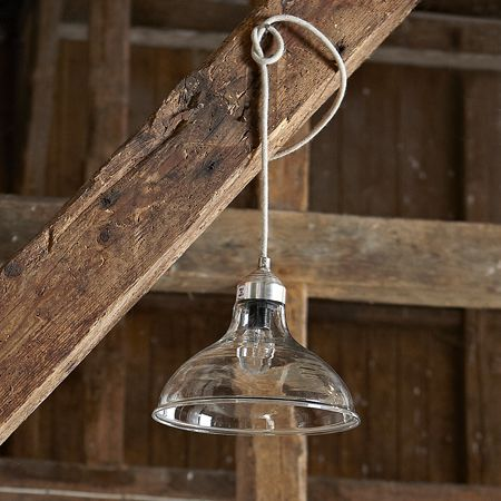 A very simple glass shade with antique style braided flex Dimensions 18cm H x 24cm
