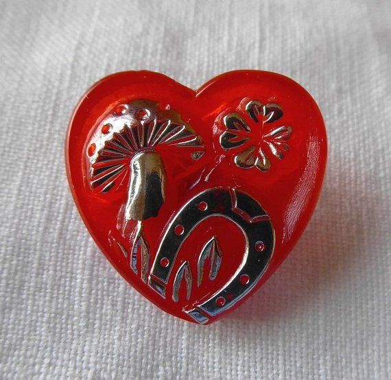 Transparent Red Glass Button - 2 Heart Button with Mushroom
