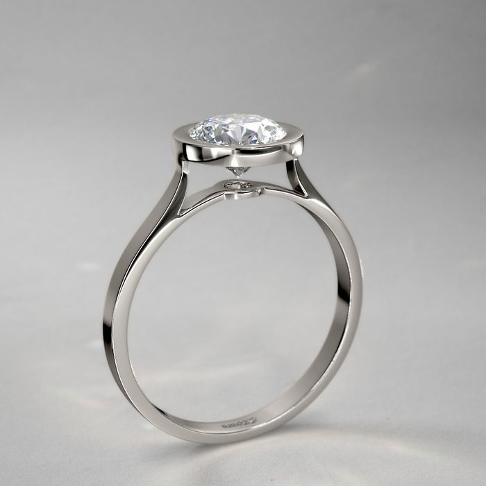 solitaire simple wedding setting bezel ring simulated engagement gold white round set item rings diamond