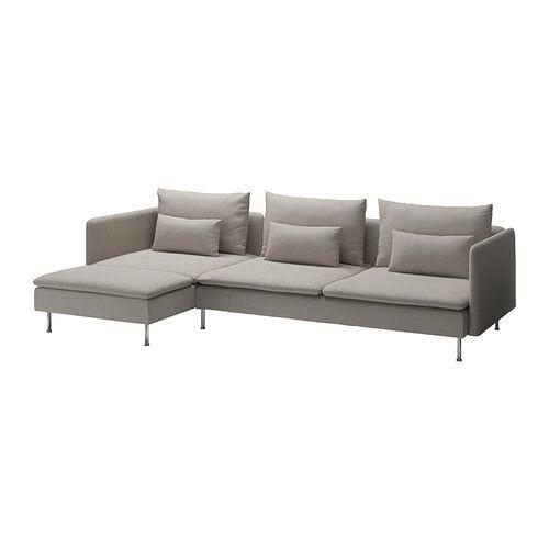 SÖDERHAMN Three-seat sofa and chaise longue - Tenö light grey - IKEA