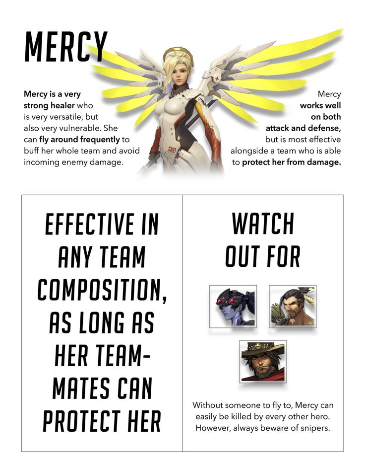 Mercy // effective in any team combo, AS LONG AS HER TEAMMATES PROTECT HER.