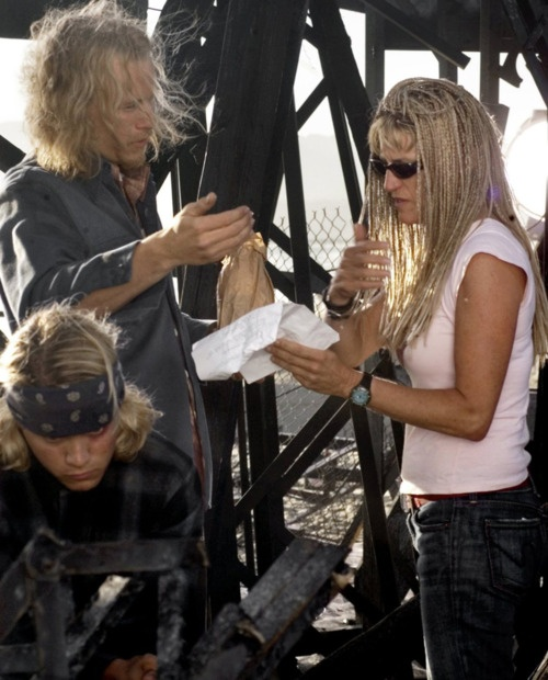 Heath Legder & Emile Hirsch on the set of Lords of Dogtown