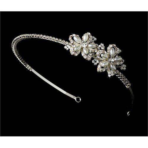 New Silver Rhinestone White Pearl Flower Bridal Tiara Headband #wedding #bride #tiara #headband #giftidea