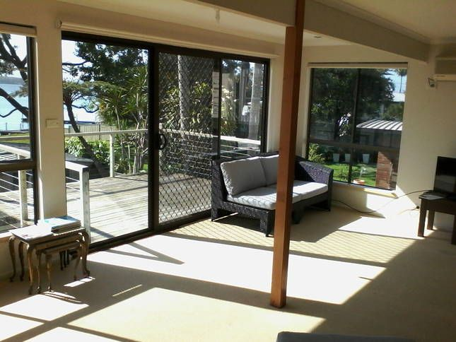 living room and deck