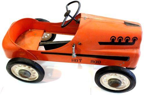 1950's Garton Hot Rod Orange Vintage Pedal Car Chain Drive Must See D3