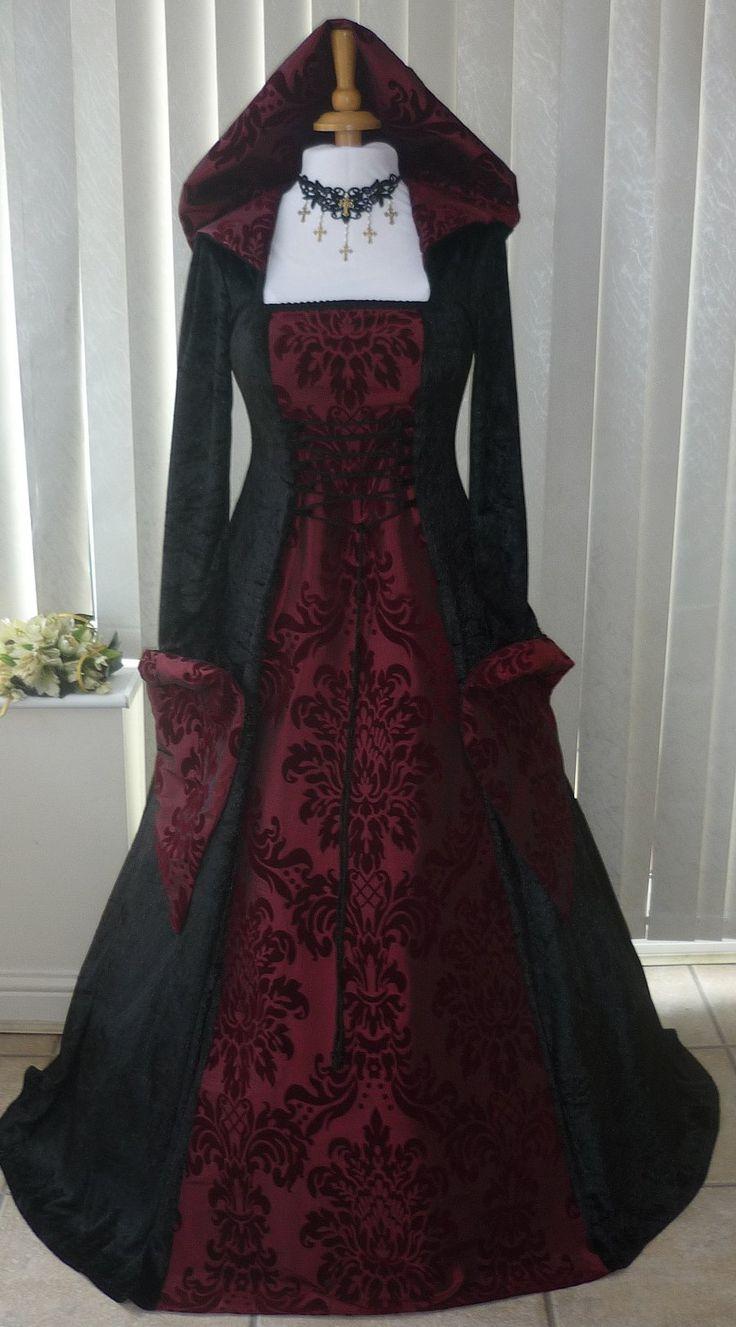 Médiévale gothique Noir et Bourgogne capuche Robe de mariée